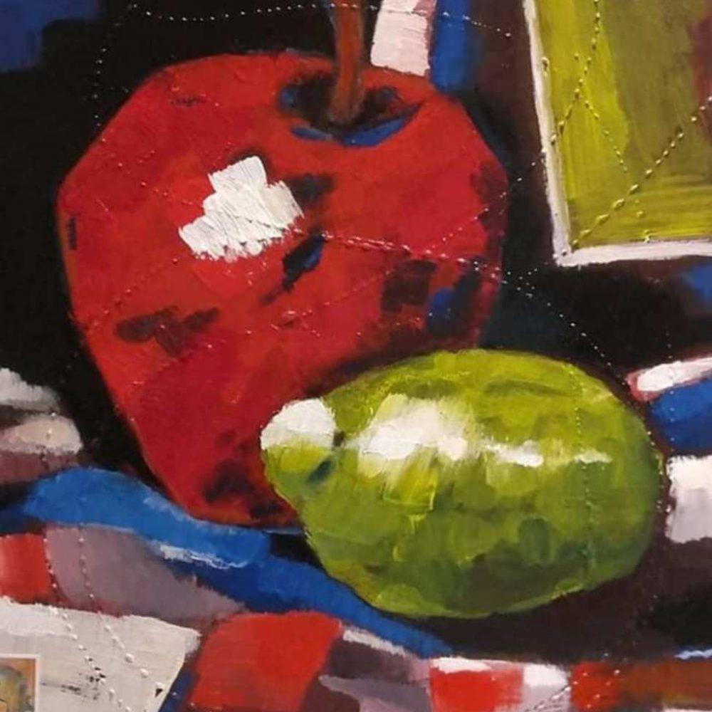 Nagy modern almás zöldcitromos csendélet